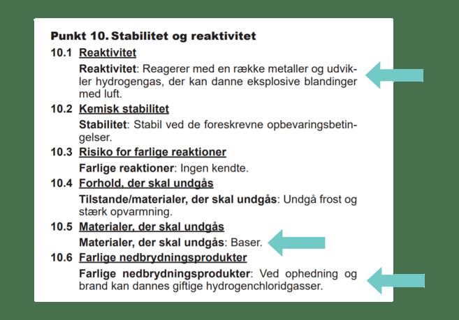 Kemisk stabilitet og reaktivitet i sikkerhedsdatabladet