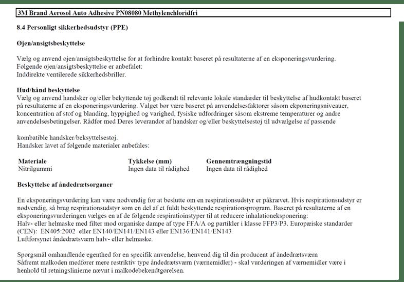 SDS punkt 8 - personlige værnemidler